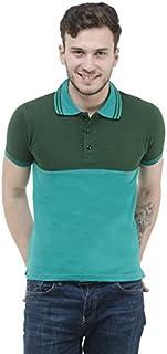 RSO Outfits Blue Green Cotton Half Sleeves Men Polo T-Shirt