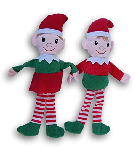 Holiday Christmas Boy Girl Elf Plush Doll Bundle - 14 Inches Tall