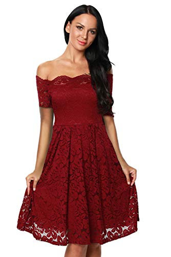 Eastylish Elegant Women's Sexy Off Shoulder Lace Casual Cocktail Wedding Party Dress … (Wine Red, Large)