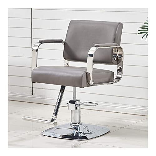 Bdesign Professionelle Hydraulische 360 Grad drehbar Friseurstuhl Salon Beauty Hair Styling Stuhl (weiße Farbe) (Color : Grey)