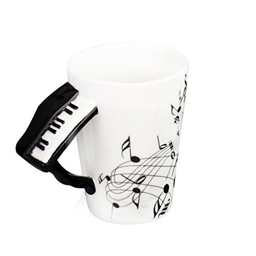 Taza de Té Notas de Música Asa Forma de Piano Porcelana Negro Regalo
