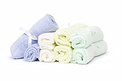 """Premium Soft 100% Organic Bamboo Washcloth/Wipe 10""""x10"""" (Neutral Assorted Colors) Set of 8"""