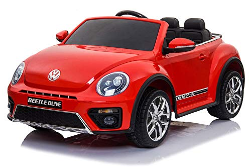 giordanoshop Macchina Elettrica per Bambini 12V Volkswagen Maggiolino New Beetle Rossa