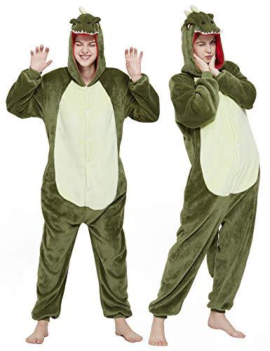 CASABACO Adult Dinosaur Onesie Costume Outfit Women T-rex Animal Pajama Halloween Unisex, Green, M