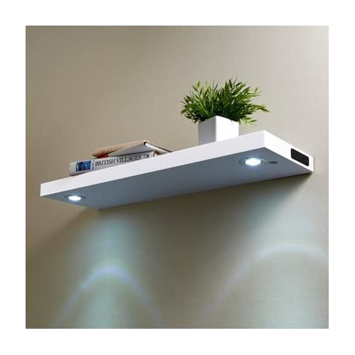 san francisco 94891 4a03b LED High Gloss Floating Wooden Wall Shelves 80CM White ...