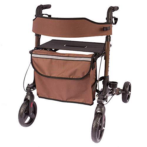 Arebos 6-fach höhenverstellbarer Leichtgwicht-Rollator mit bequemer Sitzfläche und Einkaufstasche, zusammenklappbar, in braun -sofort einsatzbereit