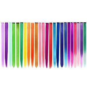 48 extensiones de cabello PCS en 24 colores, destacando el cabello largo y recto de 22 pulgadas para niñas, accesorios para el cabello de moda