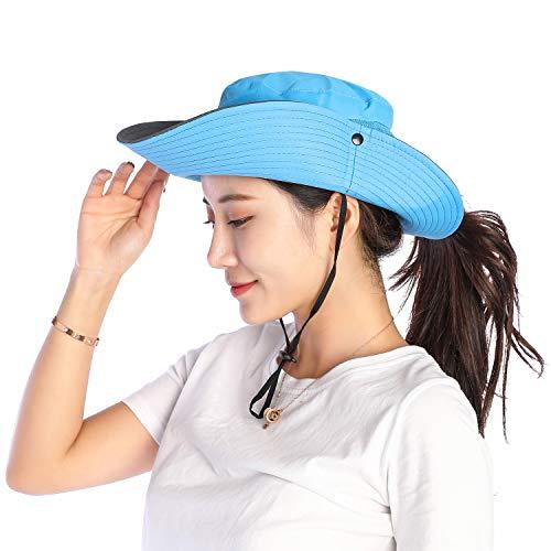 VICSPORT Sombrero de Sol para Mujer Gorro de ala Ancha de Malla Sombreros de Pesca al Aire Libre Protección UV