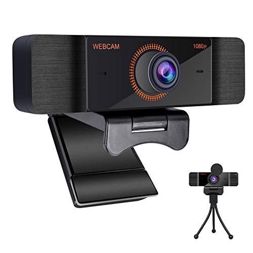 Webcam 1080P Full HD con Micrófono Y cubierta de privacidad, Cámara Web con Enfoque Automático USB,Flexible Giratorio Clip, Plug and Play para Videollamadas, Grabación, Conferencias con Clip Giratorio