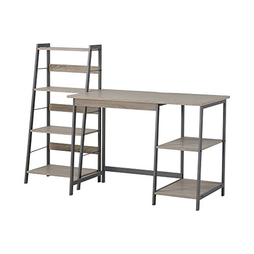 HOMESTAR 2 Piece Laptop Desk & 4-Shelf Bookcase Set, 43' x 23.6' x 47'/20' x 14' x 44', Reclaimed Wood