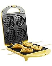 Bestron wafelmaker, wafelijzer voor hartvormige wafels op een stokje, antiaanbaklaag, 780W, geel