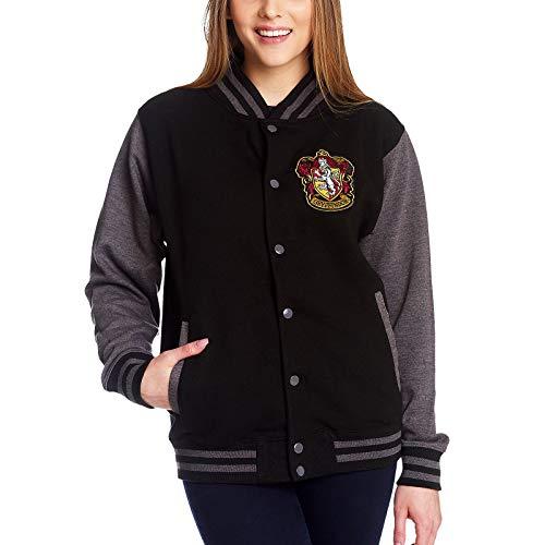 Harry Potter College Jacke Gryffindor Wappen Front- und Rückenpatch schwarz grau - M