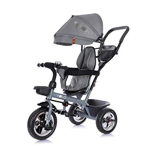 Chipolino Tricycle Polo Dreirad 3 in 1 Sitz drehbar Schubstange Sonnendach, Farbe:grau