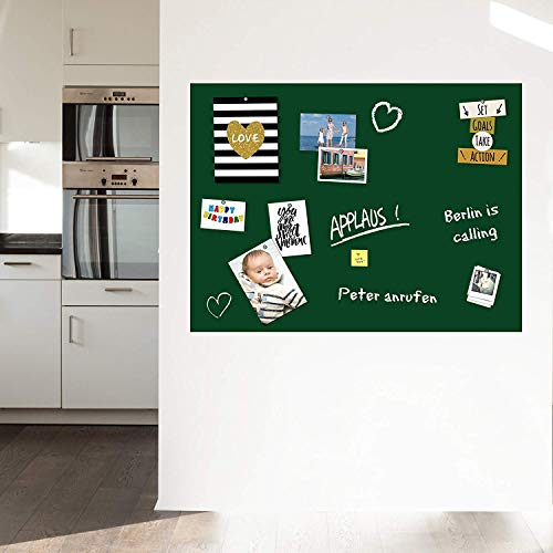 Magnet- Tafelfolie Farbe: Grün | Preis-Leistung Top - 15 Größen | beschreibbar, abwischbar, magnetisch | Wandtafelfolie Magnettafel Klebefolie - für Hoch- und Querformat (70x50cm)