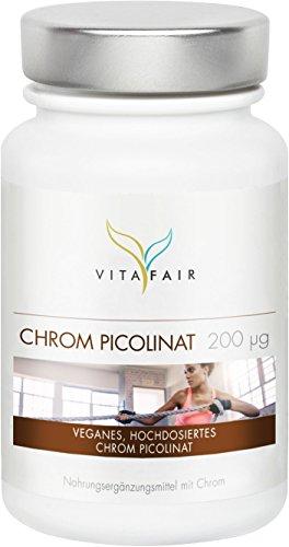 VITAFAIR Chrom Picolinat Kapseln, German Quality - 200μg Chrompicolinat pro Tagesdosis, 120 Chrom Kapseln hochdosiert (500% Tagesbedarf), 100% vegan & ohne Zusatzstoffe