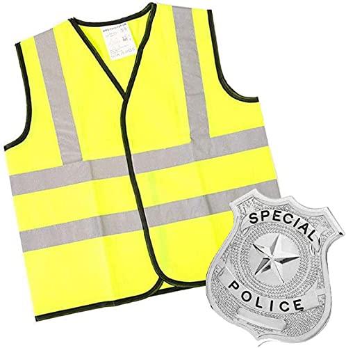 Barnpolisdräkt underbart klädesset – två delar klädeskläder inklusive hi-vis-jacka och polisdocka – perfekt för poliskontor/mergitjänster fin klänning (7-9 år)