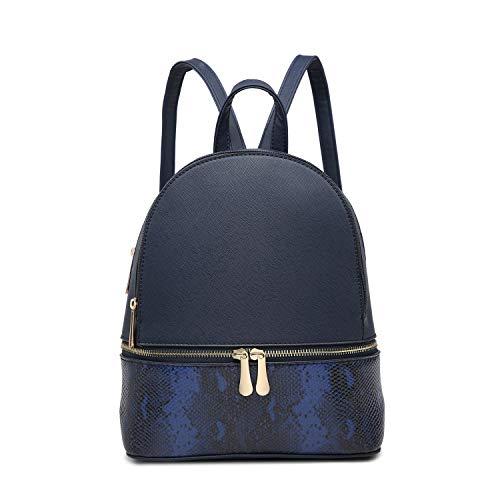 VivaLondon Women Medium Faux Leather College Backpack School Shoulder Bag...