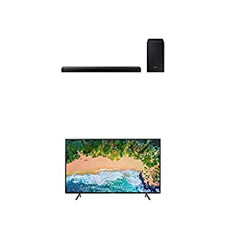 "Samsung UN40NU7100FXZC 40"" 4K Ultra HD Smart LED TV (2018) with Samsung 2.1-Channel Soundbar Home Speaker, Black, Set of 2 (HW-N450/ZC) Bundle (B07L3FCFSD) 