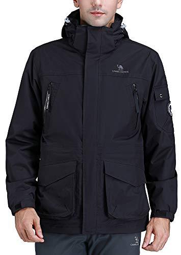 CAMEL CROWN Mens Waterproof Ski Jacket 3-in-1 Windbreaker Winter Coat Fleece Inner for Rain Snow Outdoor Hiking