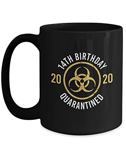 NA Divertido cumpleaños en cuarentena 14 años de Edad, 11 oz, Taza de café de cerámica Negra, Taza de té, Regalo