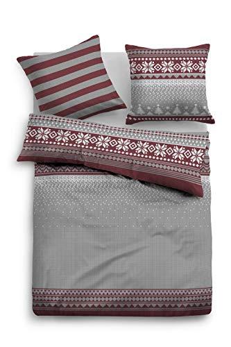 TOM TAILOR 0009988 Bettwäsche Garnitur mit Kopfkissenbezug Flanell 1x 135x200 cm + 1x 80x80 cm barolo