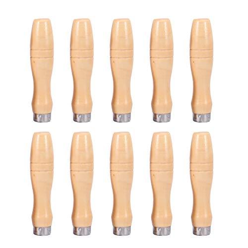 DOITOOL 10 Stück 4 Zoll Holzfeile Griff mit starken Metallhalsbänder Feilengriffe für Feilen Und Raspeln
