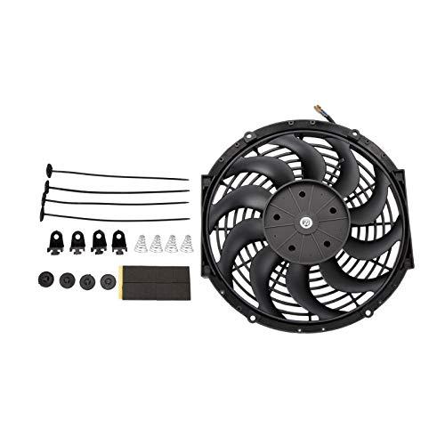 Twilight Garage - Ventilador de radiador eléctrico universal de alto rendimiento, 12 pulgadas, 12 pulgadas, con kit de montaje de ventilador, color negro