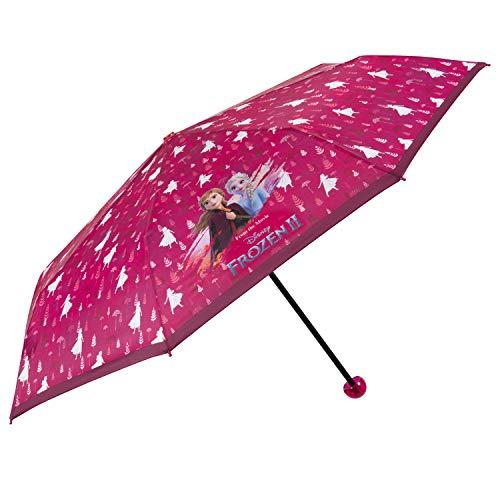 Kinderschirm Pink die Eiskönigin 2 für Kleine Mädchen 8+ Jahren - Kinder Taschenschirm Disney Frozen mit ELSA Anna - Reise Mini Regenschirm Stabil Robust Windischer - Durchmesser 91 cm - Perletti
