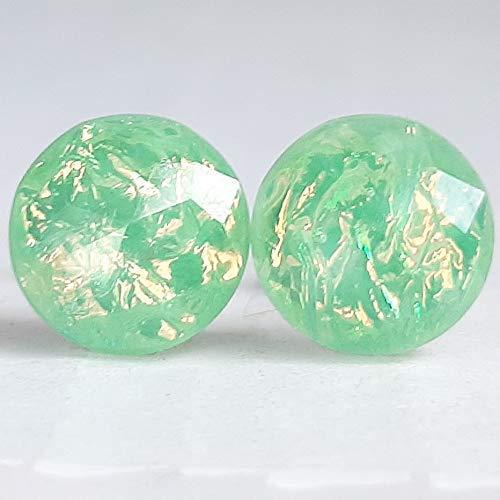 Mint Green Fire Opal Resin - Hypoallergenic 10mm Stud Inexpensive Austin Mall Earrings