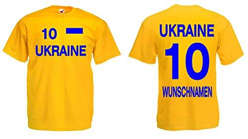 Fruit of the Loom Ukraine Trikot mit Wunschname und Wunschnummer EM 2016|gelb-S