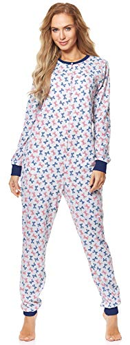 Merry Style Pijama Entero Una Pieza Ropa de Casa Mujer MS10-187 (Melange/Lazos2, XL)