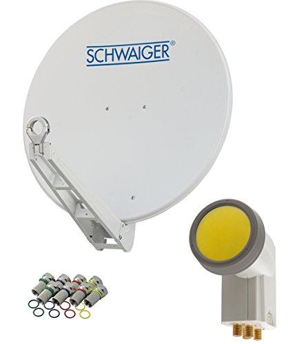 SCHWAIGER -4623- Sat Anlage, Satellitenschüssel mit Quad LNB (digital) & 8 F-Steckern 7 mm, Sat Antenne aus Aluminium, Hellgrau, 75 x 80 cm