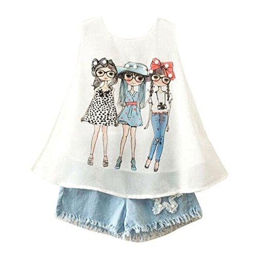JERFER Kleinkind Kinder Baby Mädchen Sommer Outfit Kleidung Print Weste T-Shirt + Kurze Hosen Set