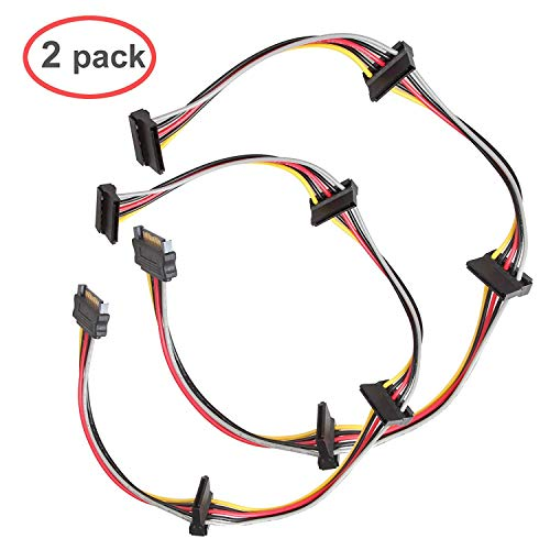 LINESO (2 Pack) SATA 15 Pin Male to 4xSATA 15 Pin Female Power Splitter Cables L=19.5Inches (50CM)
