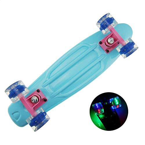 YULINGSTYLE Penny Board, 22 inch Skateboard ist Geeignet für Skateboard Kkinder ab 8 Gahre, Street Outdoor Sports Flashing Penny Board Pastel für Kinder (Blue)