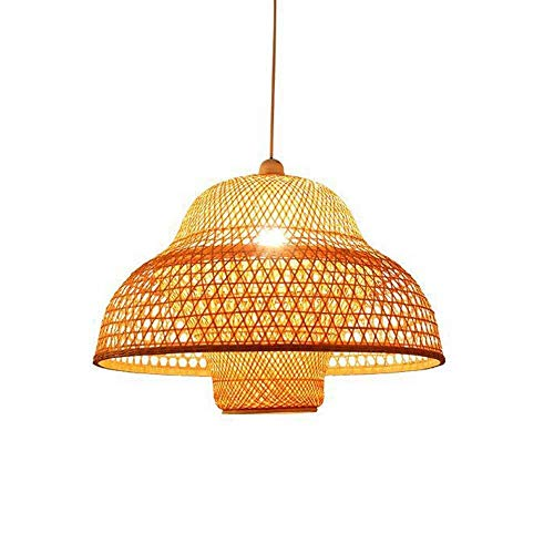 Lámparas Colgantes Madera Moderna de bambú Trabajo Pendiente de la luz de bambú Que Teje la lámpara del Techo del Restaurante Mano de Mimbre Rattan Sombrero Pantalla E27 Altura Ajustable