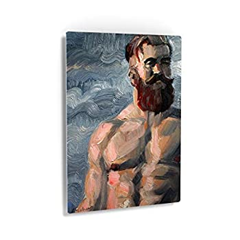 Smile Art Design Heavily Muscled Ginger Bearded Bear by Kenney Mencher Metal Print Sexy Man Portrait Oil Painting LGBT Half Nude Gay Art Living Room Decor Bedroom Wall Art - 24x16