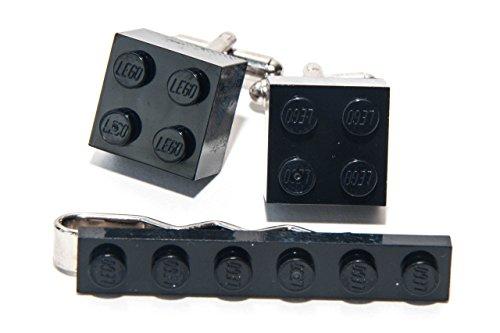 Jeff Jeffers Customs Ensemble pince à cravate et boutons de manchette Lego - Noir