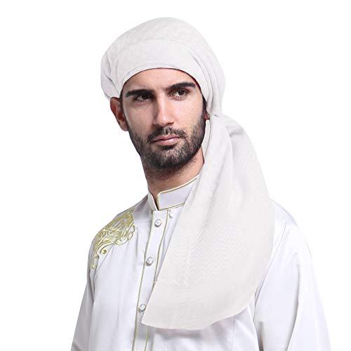 PURFUN Men Boys Large Arab Shemagh Turban Bandana Headscarf Breathable Soft Muslim Hijab Headband Shawl Keffiyeh Arabic Scarf, White, One Size