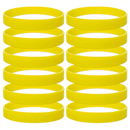 GOGO 12 PCS Silicone Wristbands for Kids, Rubber Bracelets, Party Favors - Yellow