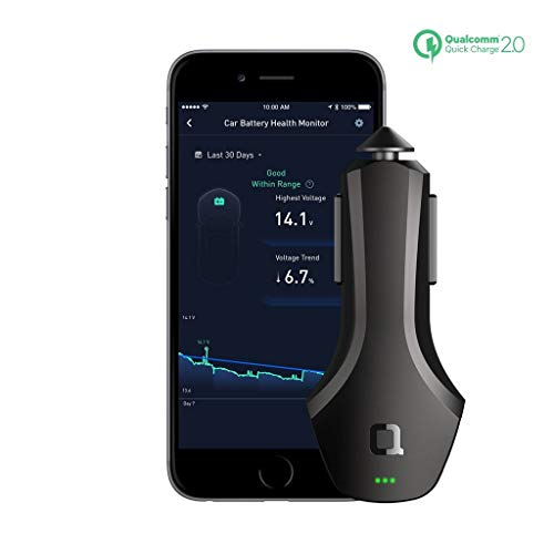 nonda ZUS Smart Car Charger Quick Charge 36W, Monitor Car Battery and Find Your Car, 2 Reversible USB Ports and Led for iPhone XS/Max/XR/X/8/7/6/Plus