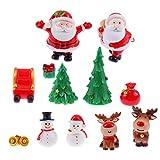 Holibanna - 12 adornos navideños en miniatura, kit de Navidad, muñeco de nieve, reno, árbol, campana, figuritas de hada, jardín o casa de muñecas, paisaje, decoración, accesorios
