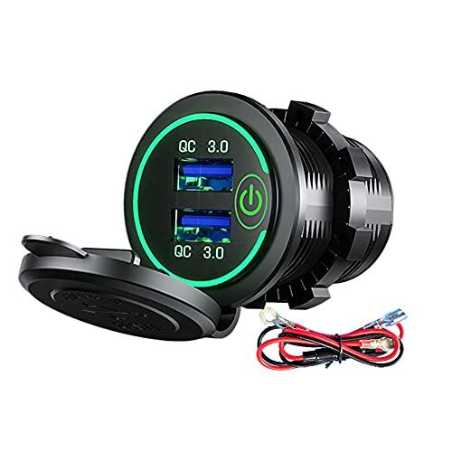 bysonice Adaptador de cargador de coche, carga rápida 3.0 USB cargador de coche zócalo 12V/24V 36W Dual QC3.0 USB cargador rápido enchufe con voltímetro LED toma de corriente