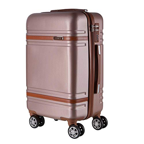 Mala de Bordo Pequena para Viagem em Abs Yins 21068 Rodas Duplas Cadeado Integrado Tam P - Rosê