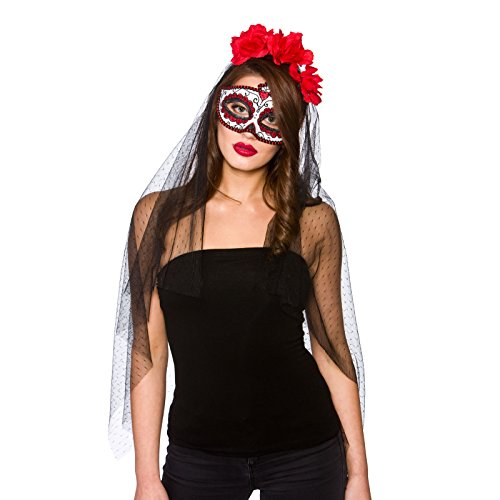 wicked - Day of the Dead Deluxe Mask & Veil (min 6