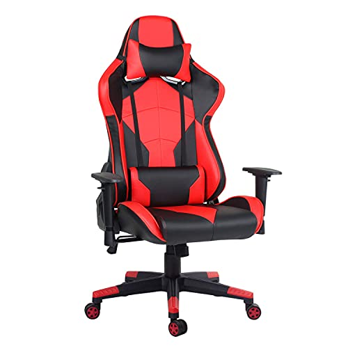 Hadwi Racing Style Gaming Chair, Swivel Computer Desk Chair with Adjustable Armrests, PU Leather Ergonomic Adult Office Chair with Headrest & Lumbar Support, Red+Black