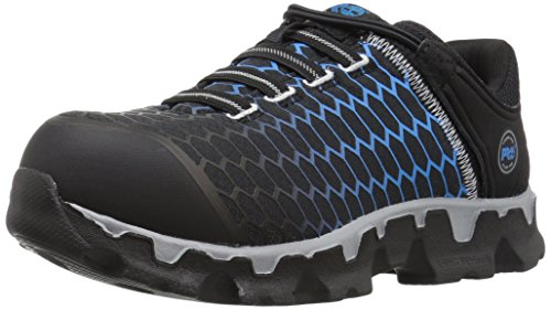 Timberland PRO Women's Powertrain Sport Slip On Alloy Toe SD+ Industrial & Construction Shoe, Black Ripstop Nylon with Blue, 5.5