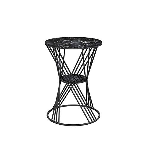 GAXQFEI Muebles de Sala Mesa Auxiliar Redonda de Mármol, Creatividad Mesa de Centro de Metal Café Hotel Tienda de Ropa Mesa de Negociación Mesa de Bar, Mesa de Negociación,D,35 * 35 * 40Cm