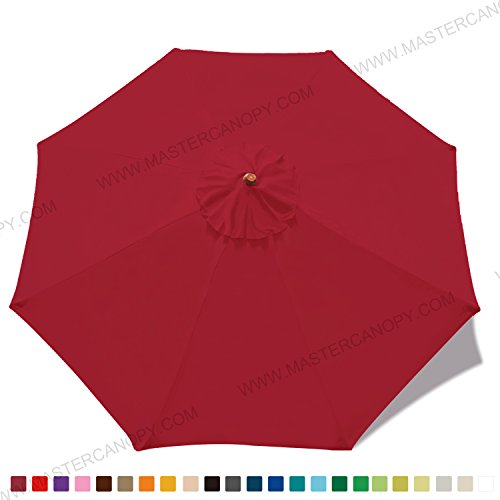 MASTERCANOPY 9ft Patio Umbrella Replacement Canopy Market Table Umbrella Canopy with 8 Ribs(Burgundy)