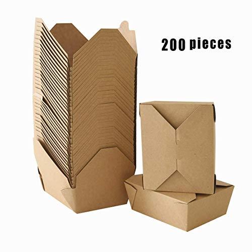 zhangfengjiao 1000ML Afhaaldoos, Chinese Afhaaldoos, 200 verpakkingen opvouwbaar, magnetronbestendig natuurkraftpapier, voedseldoos, waterdicht, lekvrij en schuurvast